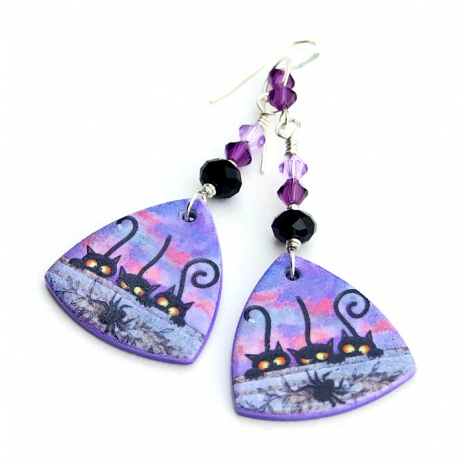 Black cat Halloween earrings for women