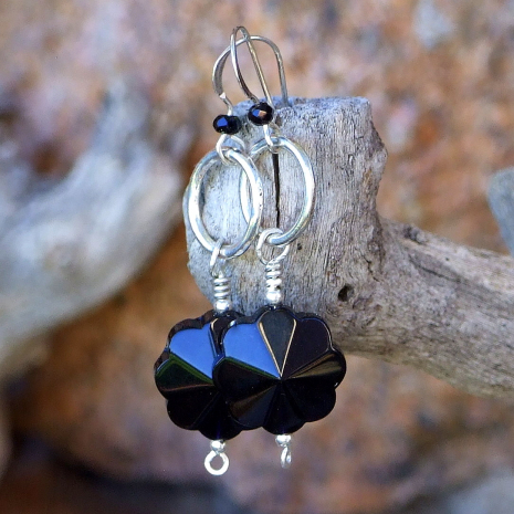 Black and silver flower earrings.