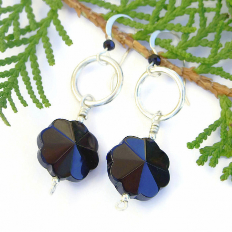 Black onyx flower earrings.