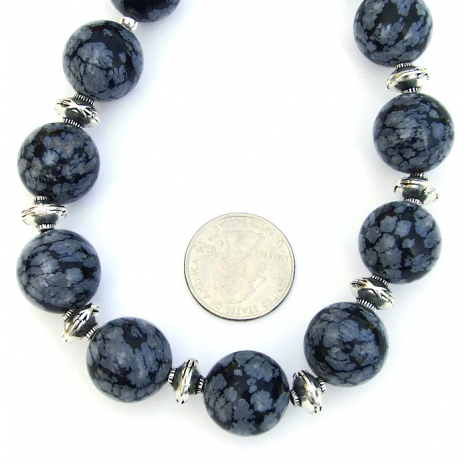 Black and white snowflake obsidian chunky artisan necklace