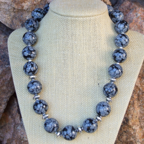 Snowflake obsidian gift idea jewelry for women