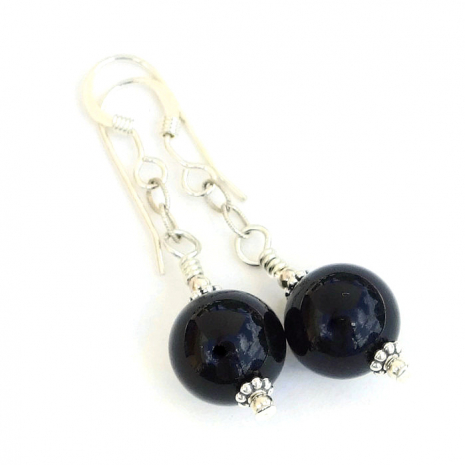Black onyx gemstones and sterling earrings gift idea for women