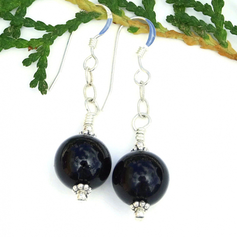 Black onyx gemstones and sterling jewelry gift idea for women