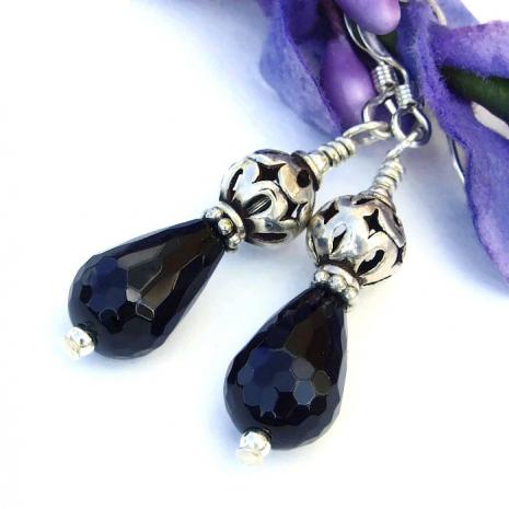 Elegant, unique black and silver dangle jewelry