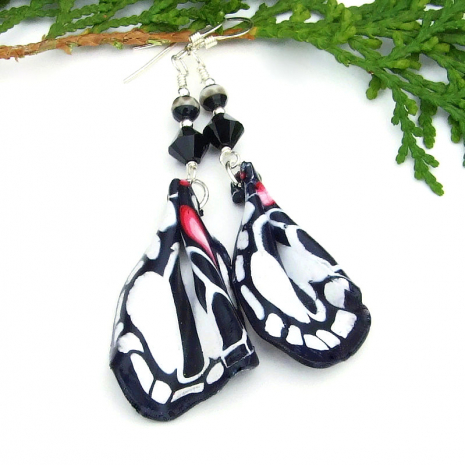 black white pink zebra swallowtail butterfly wings jewelry