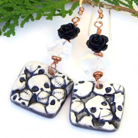 black white skull earrings halloween day of the dead