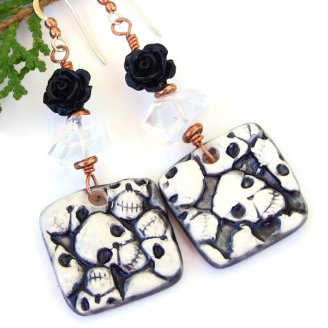 black white skull jewelry halloween day of the dead