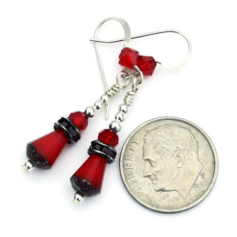 Red Valentines Day earrings for woman - handmade jewelry