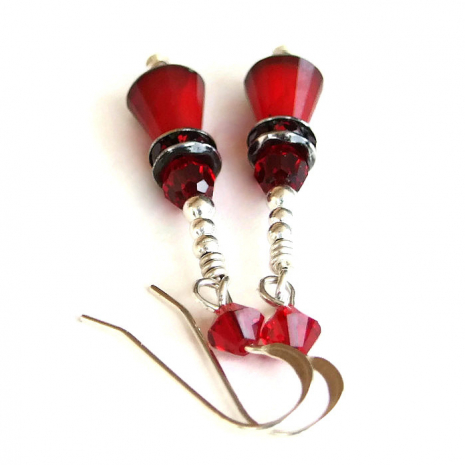 One of a kind artisan handmade Valentines earrings in red