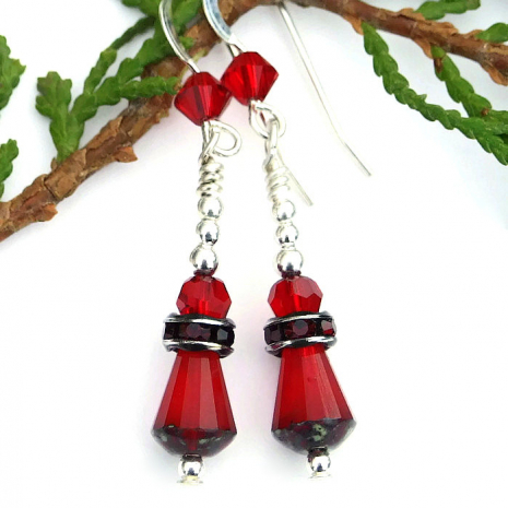 Sparkling red Valentine's Day earrings