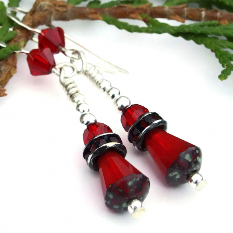 Sparkling handmade red Valentine's Day fashion earrings.