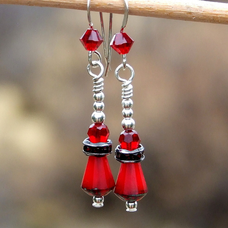 Handmade red Valentines earrings