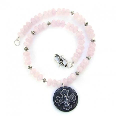 Virgin Mary and rose quartz pendant necklace.
