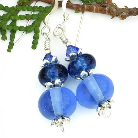 blue earrings gift for women