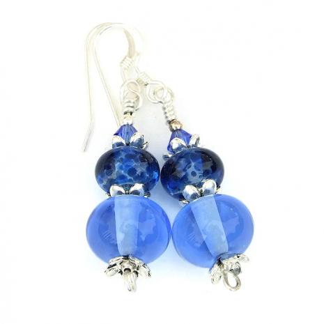 handmade blue lampwork earrings jewelry for her