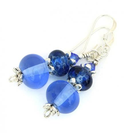 blue lampwork earrings