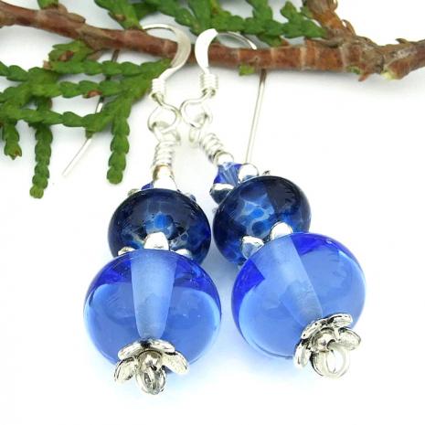 unique blue earrings for women