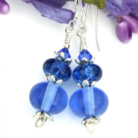 blue lampwork glass earrings, gift idea