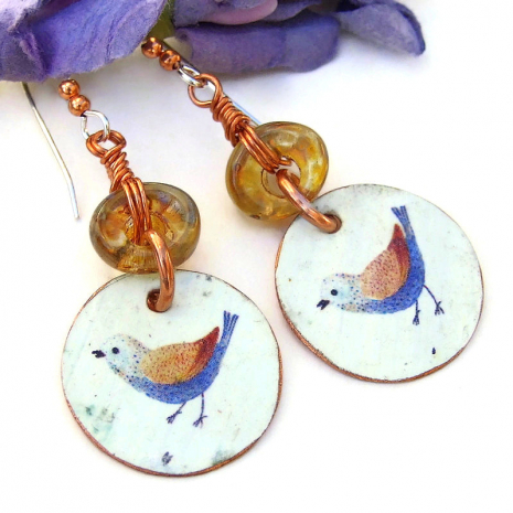 blue and brown bird rustic jewelry