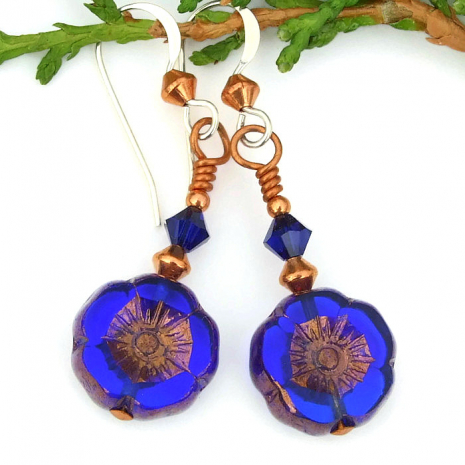 blue flower earrings with Swarovski crystals