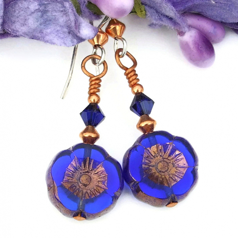 handmade blue flower jewelry for women