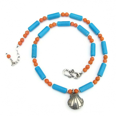 blue and coral beach necklace with seashell pendant