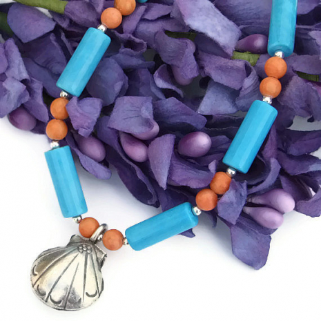blue and coral beach shell jewelry for summer