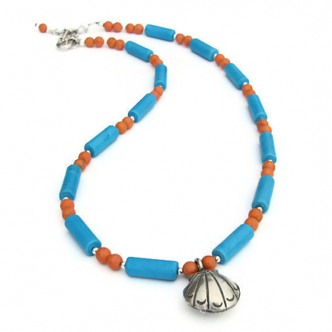blue and coral beach jewelry with seashell pendant