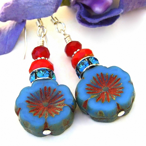 blue and red czech glass flower earrings with crystals
