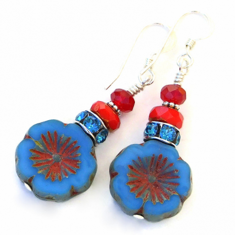 blue and red flower earrings gift for women