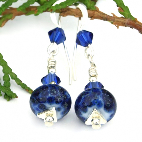 blue and silver lampwork and crystal jewelry for women