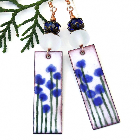 blue and white flower earrings jewelry gift for women