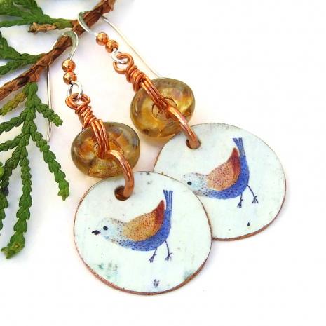 blue bird on white copper dangle earrings