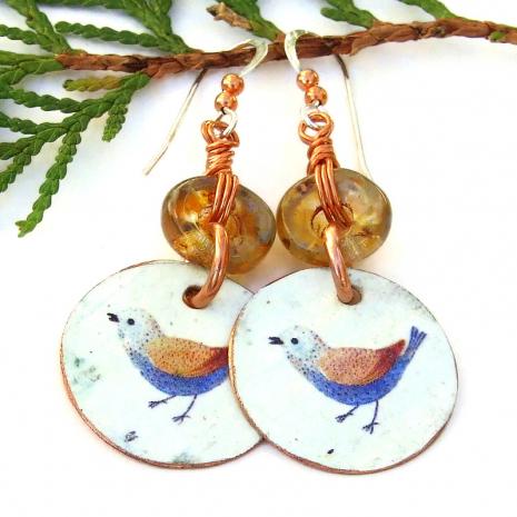 blue bird on white copper dangle jewelry