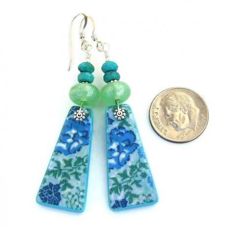 Artisan handmade blue floral tapestry earrings.