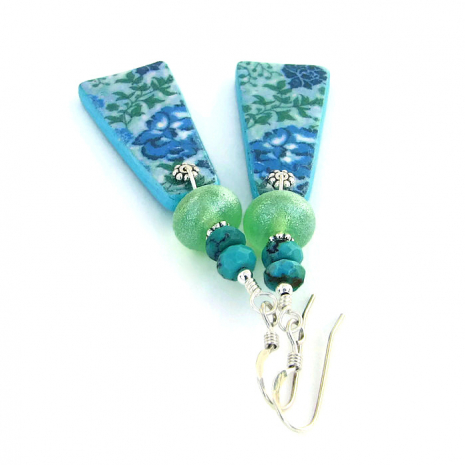 Blue flower, lime green lampwork glass and turquoise earrings.