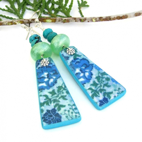 One of a kind blue flower and lime green lampwork earrings with turquoise.