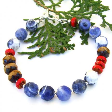 blue brown red color block bracelet sodalite czech glass