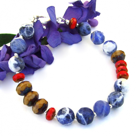 blue brown red color block jewelry sodalite czech glass