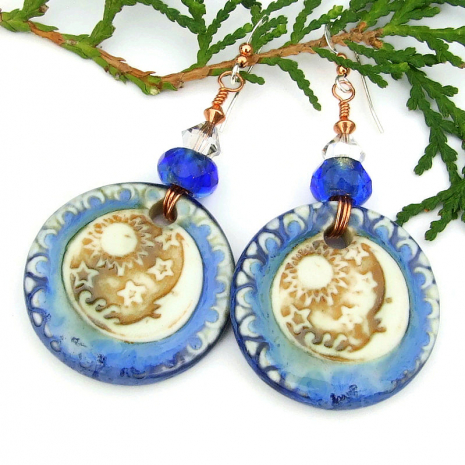 blue brown white sun stars moon artisan jewelry