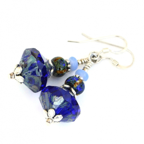 blue czech glass earrings gift for women