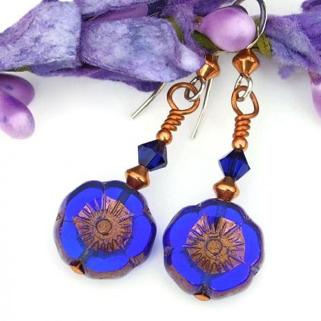 flower earrings gift for her
