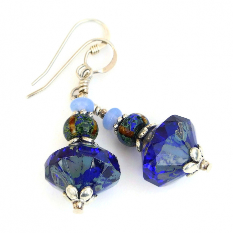blue czech glass jewelry gift for women