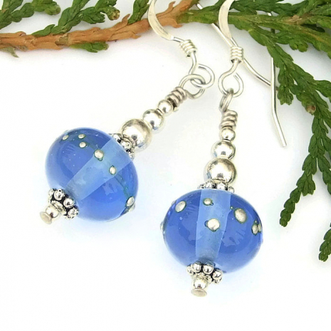 handmade blue and silver earrings gift