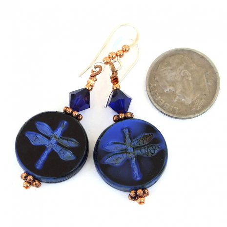 Blue and black dragonfly earrings with indigo Swarovski crystals and copper.