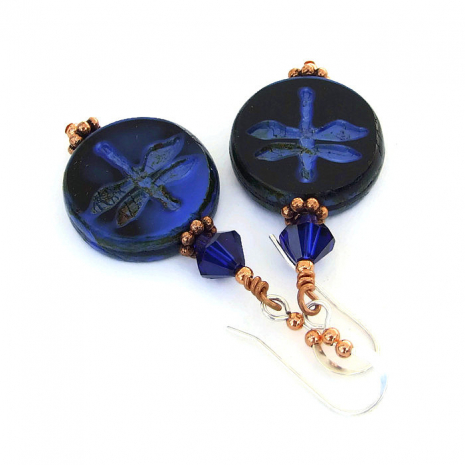 Blue dragonfly earrings with Swarovski crystals.