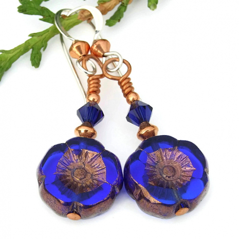 blue flower earrings for women