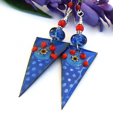 blue enamel lampwork red coral spike jewelry gift