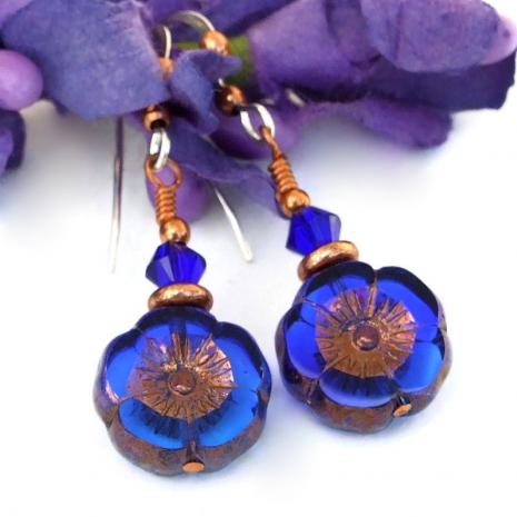 blue flower earrings czech glass swarovski crystals