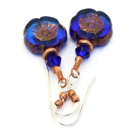blue flower jewelry czech glass swarovski crystals